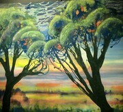"Drip Trees 24""x36""acrylic pastel & enamel on canvas"