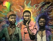 """Three Slaves"" oil, acrylic & enamel on canvas"