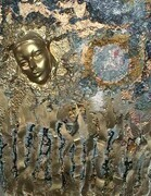 "Timeless Soul 24""x36""x6"" styrafoam tin acrylic, enamel & gold leaf on wood"
